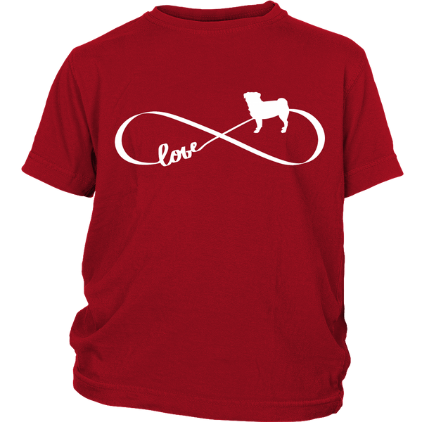 Love Pug Infinity Kids T-shirt - the passionate pug - District Youth Shirt / Red / XS - 2