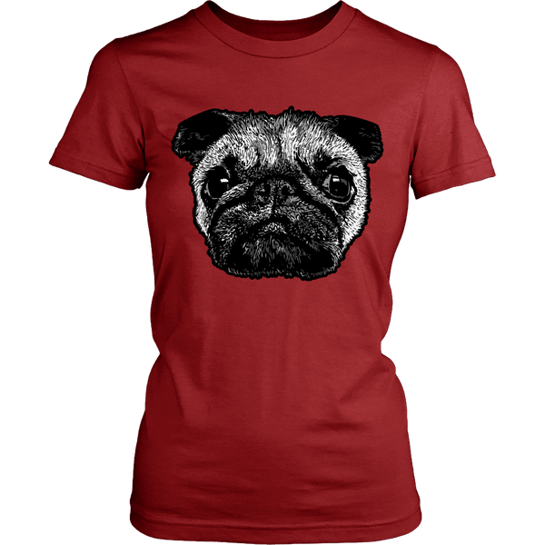 Women's Pug Face T-shirt - thepassionatepug - District Womens Shirt / Red / XS - 6