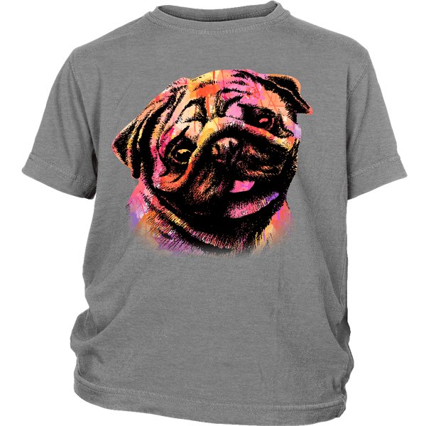 Watercolor Pug Kids T-shirt - the passionate pug - District Youth Shirt / Sport Grey / XS - 5