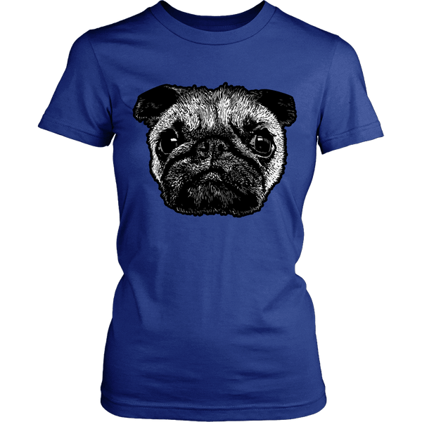 Women's Pug Face T-shirt - thepassionatepug - District Womens Shirt / Royal Blue / XS - 8