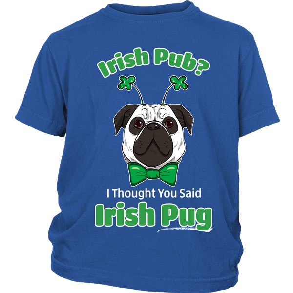 Irish Pug Kids T-shirt - the passionate pug - District Youth Shirt / Royal Blue / XS - 1