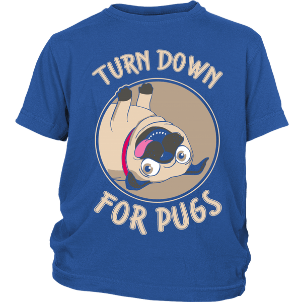 Turned Down For Pugs Kids T-shirt - the passionate pug - District Youth Shirt / Royal Blue / XS - 1
