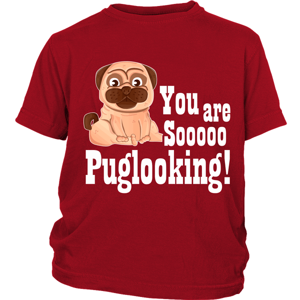 Puglooking Kids T-shirt - the passionate pug - District Youth Shirt / Red / XS - 2