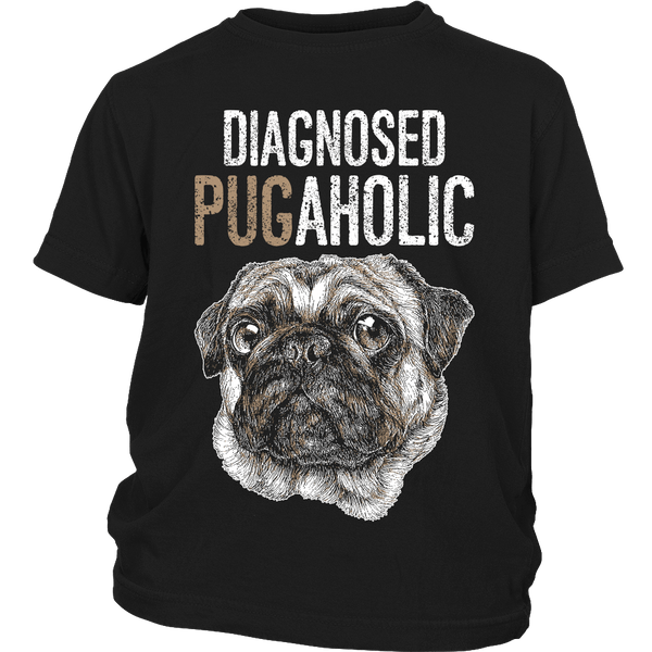 Diagnosed Pugaholic Kids T-shirt - the passionate pug - District Youth Shirt / Black / XS - 3