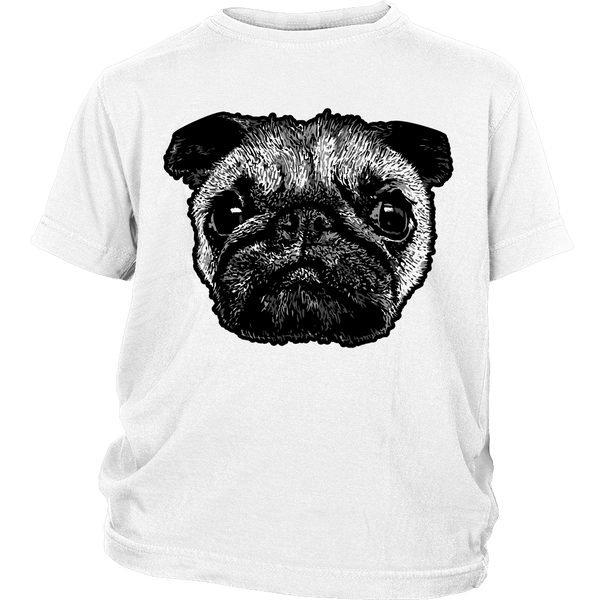 Pug Face Kids T-shirt - the passionate pug - District Youth Shirt / White / XS - 1