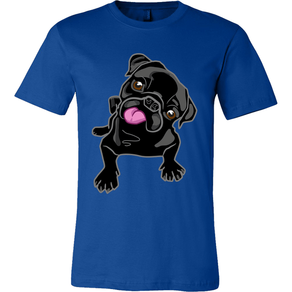 Men's Black Pug T-shirt - thepassionatepug - Canvas Mens Shirt / True Royal / S - 2