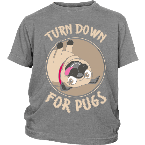 Turned Down For Pugs Kids T-shirt - the passionate pug - District Youth Shirt / Sport Grey / XS - 4