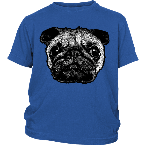 Pug Face Kids T-shirt - the passionate pug - District Youth Shirt / Royal Blue / XS - 2