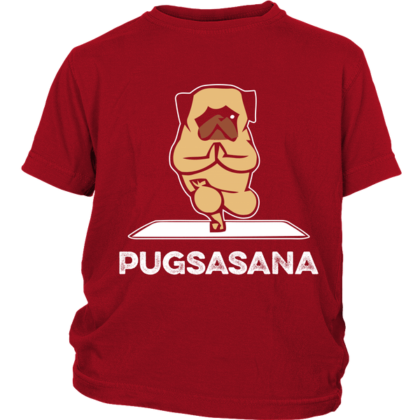 Pugsasana Kids T-shirt - the passionate pug - District Youth Shirt / Red / XS - 2