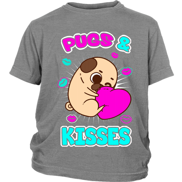 Pugs & Kisses Kids T-shirt - the passionate pug - District Youth Shirt / Sport Grey / XS - 5