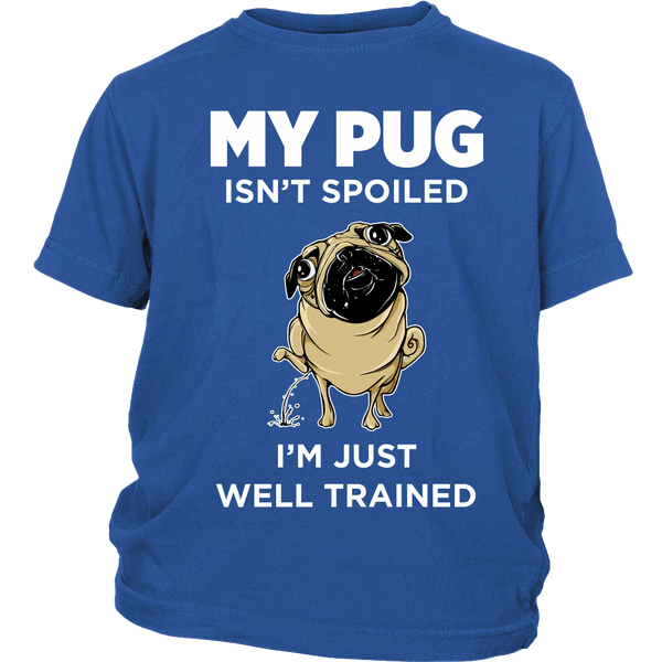 My Pug Isn't Spoiled Kids T-shirt - the passionate pug - District Youth Shirt / Royal Blue / XS - 1