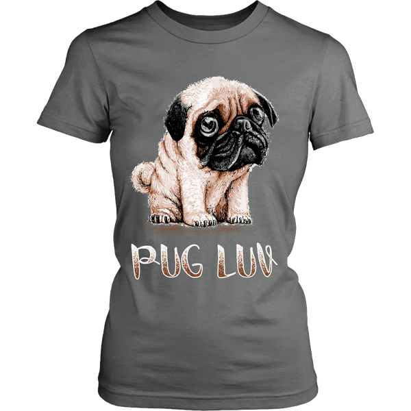 Women's Pug Luv T-shirt - the passionate pug - District Womens Shirt / Grey / XS - 7