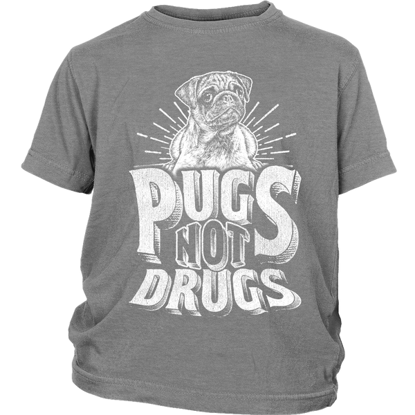 Pugs Not Drugs Kids T-shirt - the passionate pug - District Youth Shirt / Sport Grey / XS - 4