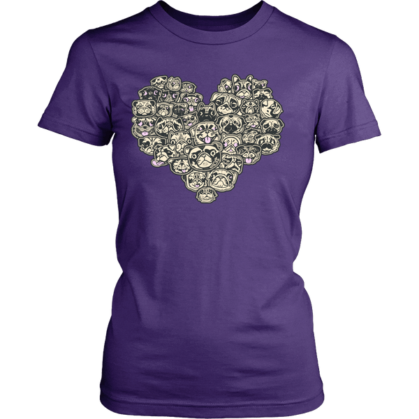 Women's Heart Full Of Pugs T-shirt - thepassionatepug - District Womens Shirt / Purple / XS - 1