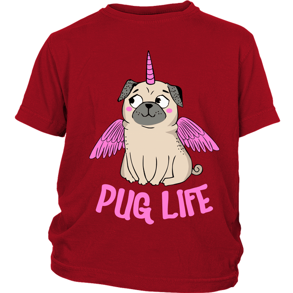 Pug With Wings Kids T-shirt - the passionate pug - District Youth Shirt / Red / XS - 3