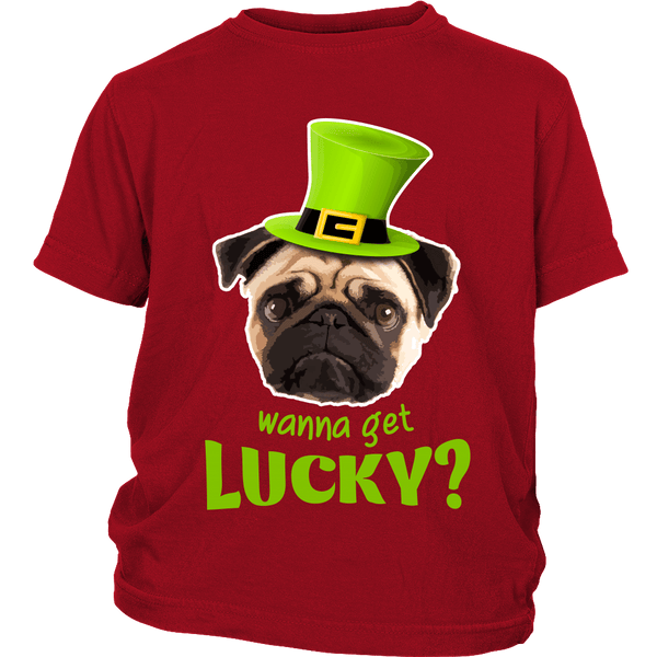 Wanna Get Lucky Kids T-shirt - the passionate pug - District Youth Shirt / Red / XS - 3