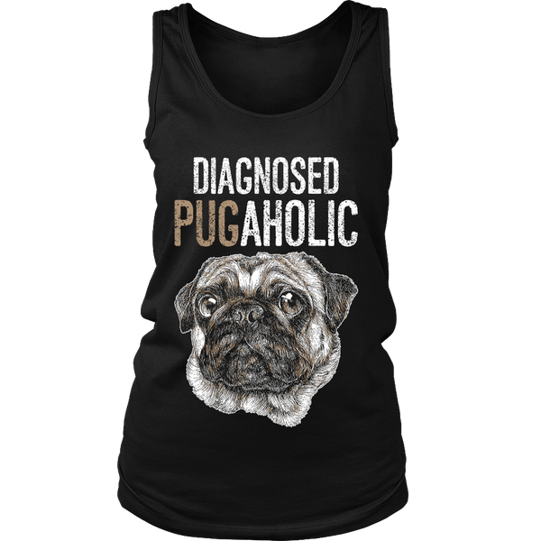 Women's Diagnosed Pugaholic T-shirt - thepassionatepug - District Womens Tank / Black / S - 6