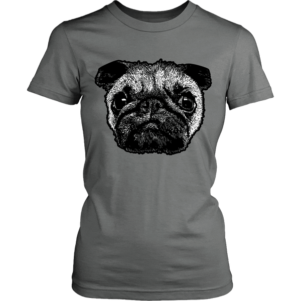 Women's Pug Face T-shirt - thepassionatepug - District Womens Shirt / Grey / XS - 7