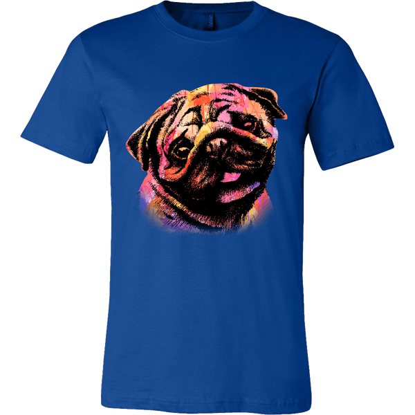 Men's Watercolor Pug T-shirt - thepassionatepug - Canvas Mens Shirt / True Royal / S - 2
