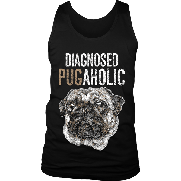 Men's Diagnosed Pugaholic T-shirt - thepassionatepug - District Mens Tank / Black / S - 4