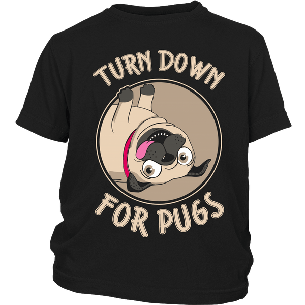Turned Down For Pugs Kids T-shirt - the passionate pug - District Youth Shirt / Black / XS - 3