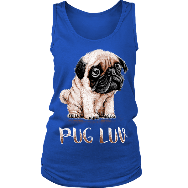 Women's Pug Luv T-shirt - the passionate pug - District Womens Tank / Royal Blue / S - 2