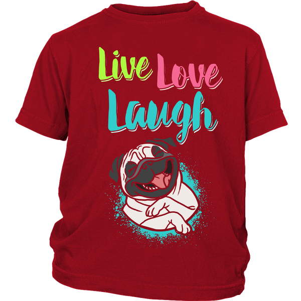 Live Love Laugh Kids T-shirt - the passionate pug - District Youth Shirt / Red / XS - 1
