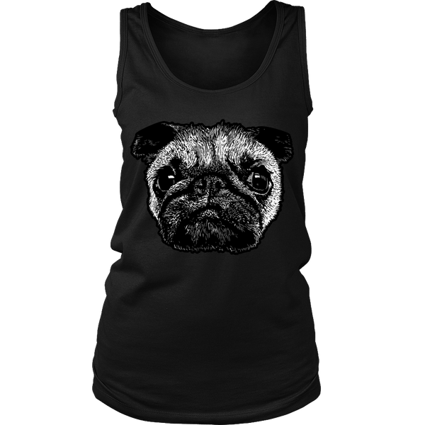 Women's Pug Face T-shirt - thepassionatepug - District Womens Tank / Black / S - 9