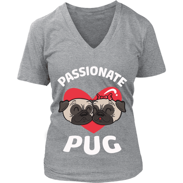 Women's Passionate Pug T-shirt - thepassionatepug - District Womens V-Neck / Grey / S - 9