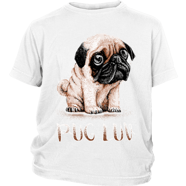 Pug Luv Kids T-shirt - the passionate pug - District Youth Shirt / White / XS - 1