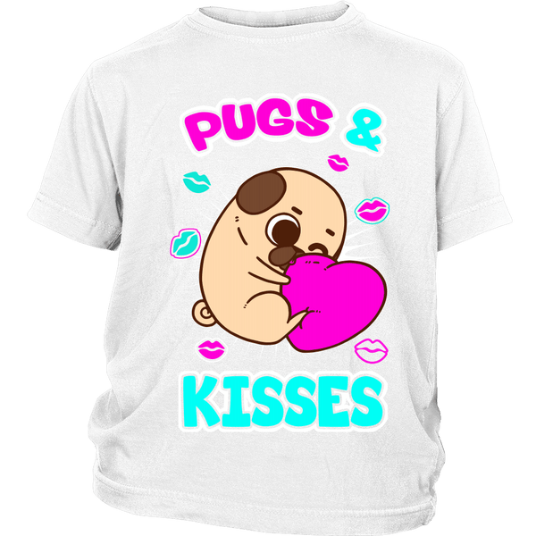 Pugs & Kisses Kids T-shirt - the passionate pug - District Youth Shirt / White / XS - 1