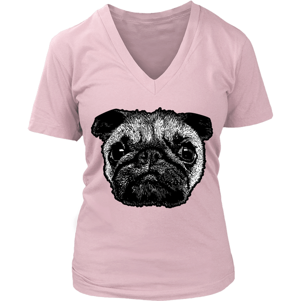 Women's Pug Face T-shirt - thepassionatepug - District Womens V-Neck / Pink / S - 2