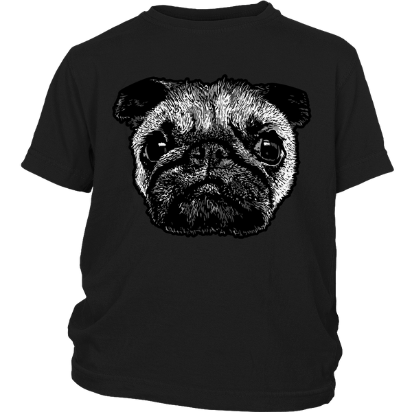 Pug Face Kids T-shirt - the passionate pug - District Youth Shirt / Black / XS - 4