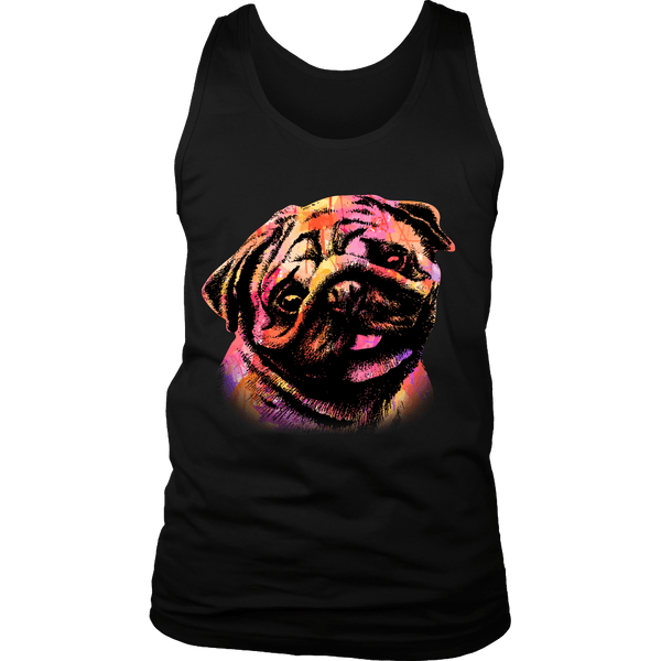 Men's Watercolor Pug T-shirt - thepassionatepug - District Mens Tank / Black / S - 4