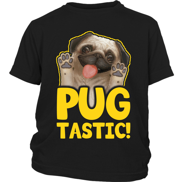 Pugtastic Kids T-shirt - the passionate pug - District Youth Shirt / Black / XS - 4