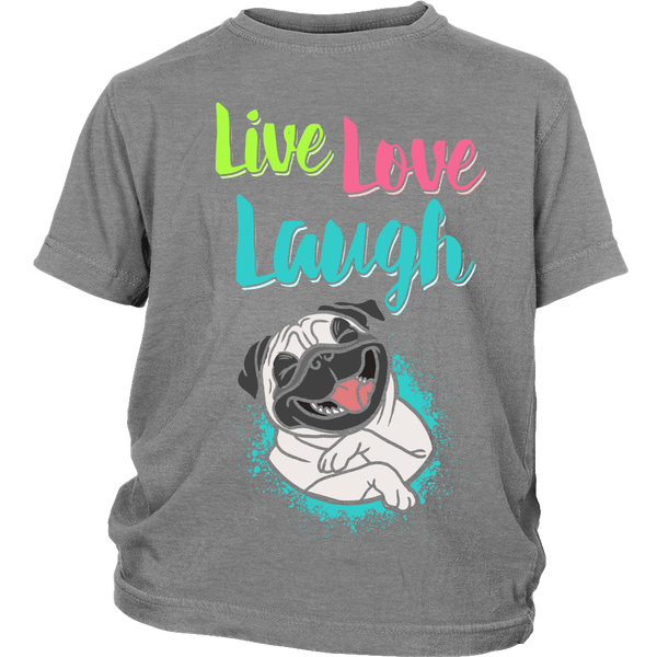 Live Love Laugh Kids T-shirt - the passionate pug - District Youth Shirt / Sport Grey / XS - 3