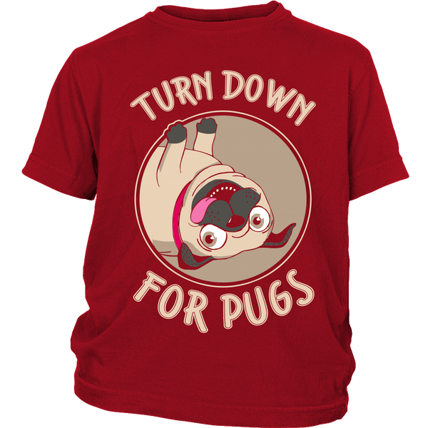 Turned Down For Pugs Kids T-shirt - the passionate pug - District Youth Shirt / Red / XS - 2