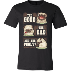 Men's The Good The Bad And The Pugly T-shirt - the passionate pug - Canvas Mens Shirt / Black / S - 1