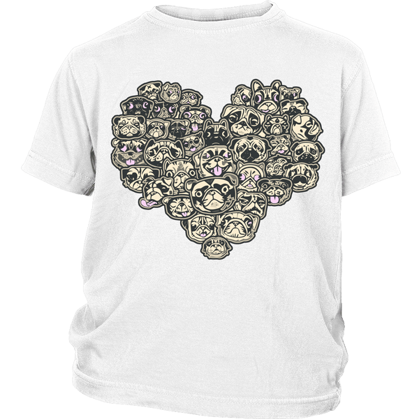Heart Of Pugs Kids T-shirt - the passionate pug - District Youth Shirt / White / XS - 1