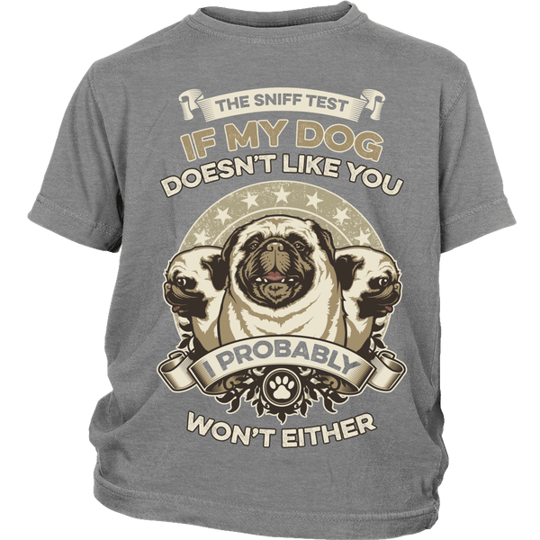 The Pug Sniff Test Kids T-shirt - the passionate pug - District Youth Shirt / Sport Grey / XS - 4