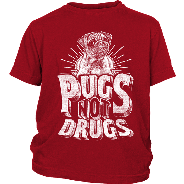 Pugs Not Drugs Kids T-shirt - the passionate pug - District Youth Shirt / Red / XS - 2