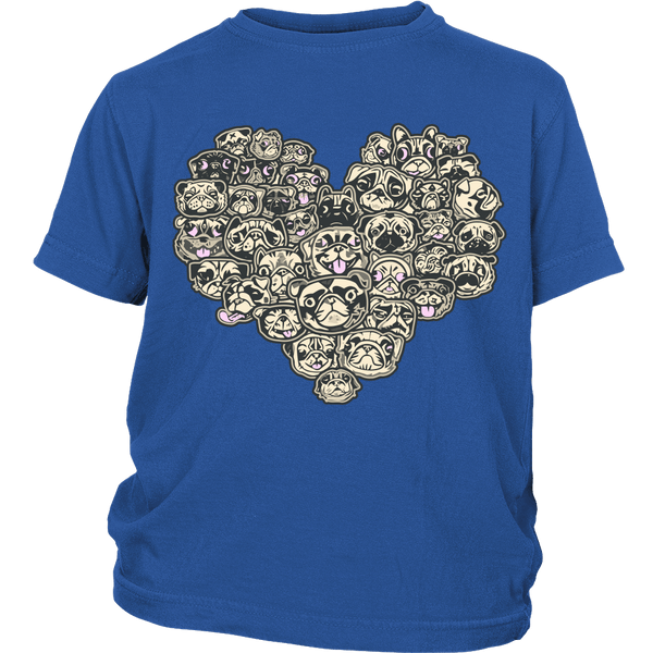 Heart Of Pugs Kids T-shirt - the passionate pug - District Youth Shirt / Royal Blue / XS - 2