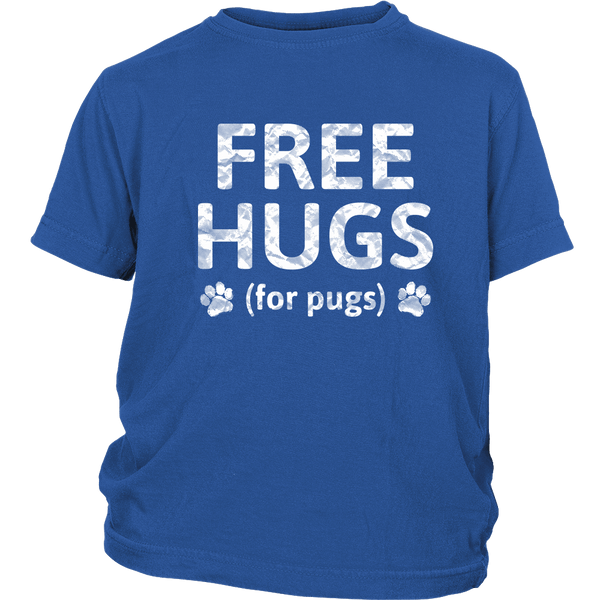 Free Hugs for Pugs Kid's T-shirt - the passionate pug - District Youth Shirt / Royal Blue / XS - 1