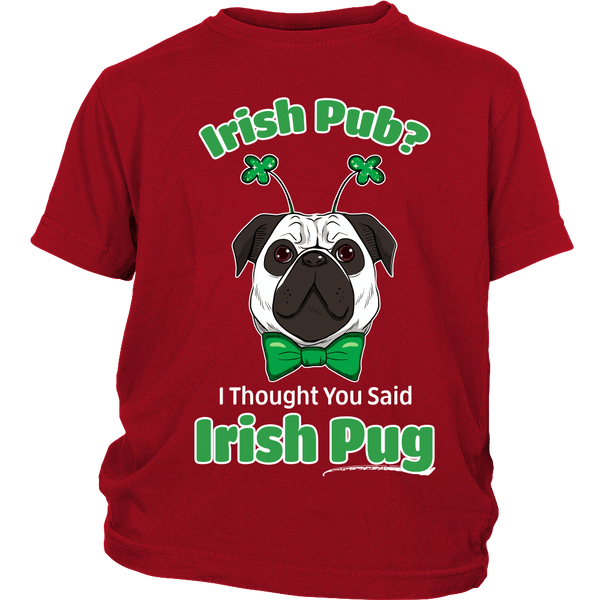 Irish Pug Kids T-shirt - the passionate pug - District Youth Shirt / Red / XS - 2