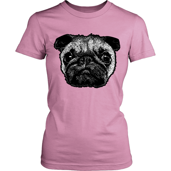 Women's Pug Face T-shirt - thepassionatepug - District Womens Shirt / Pink / XS - 5