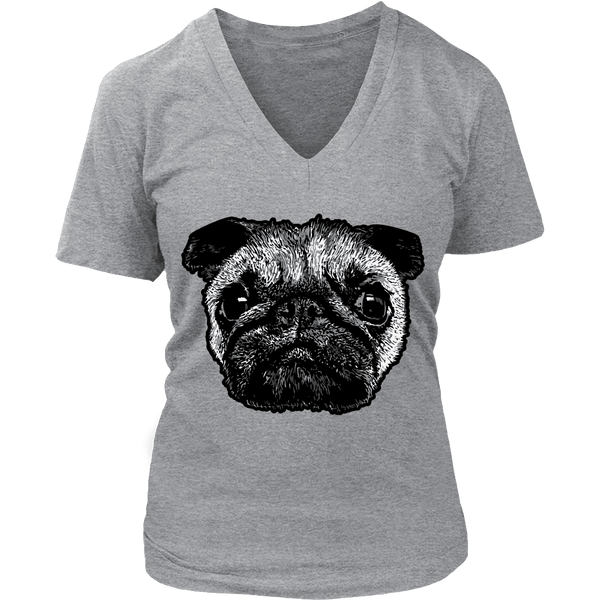 Women's Pug Face T-shirt - thepassionatepug - District Womens V-Neck / Grey / S - 4
