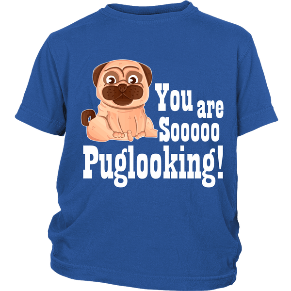 Puglooking Kids T-shirt - the passionate pug - District Youth Shirt / Royal Blue / XS - 1