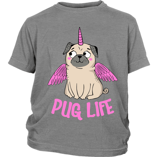 Pug With Wings Kids T-shirt - the passionate pug - District Youth Shirt / Sport Grey / XS - 5