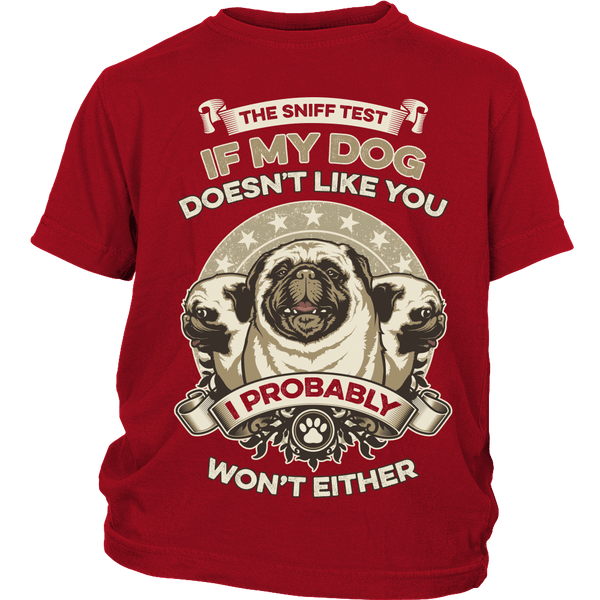 The Pug Sniff Test Kids T-shirt - the passionate pug - District Youth Shirt / Red / XS - 2