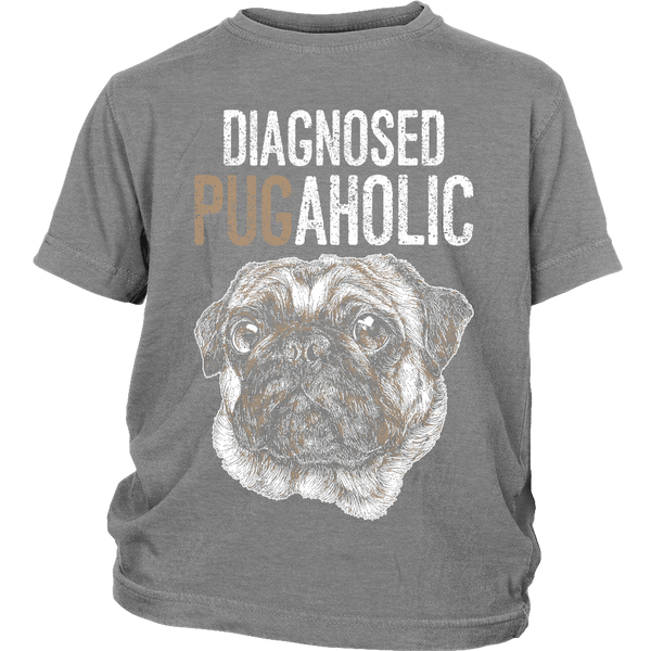 Diagnosed Pugaholic Kids T-shirt - the passionate pug - District Youth Shirt / Sport Grey / XS - 4